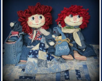 "2 in 1 ""Wanna Quilt? Annie and Read All About It, Andy!"" Country Raggedy Annie and Raggedy Andy Dolls Combo E-Pattern"
