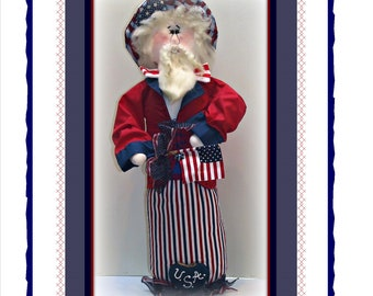 Smiling Sam! The USA Man - Country Uncle Sam Doll Patriotic Americana Decoration E-Pattern