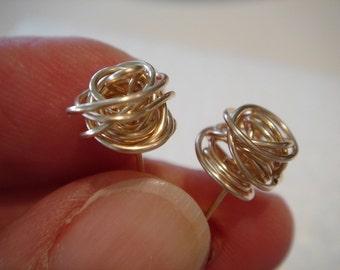 14kt gold filled...small..ROSEBUDS...stud earrings..