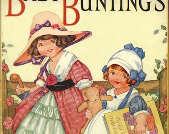 Baby Bunting - Antique Illustration - Book Cover Image Scan Instant Digital Download DB027