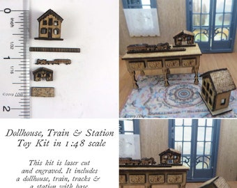 """KIT Dollhouse, Train & Station Toy Kit, Laser Cut and Engraved quarter scale 1:48 1/4""""  LC064"""