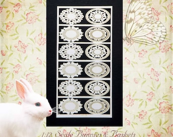 Miniature dollhouse Bunnies & Baskets in 3 scales Oval Paper Doilies in 1:12 Scale, Half or Quarter Scale, 12 doilies in 4 designs PL182