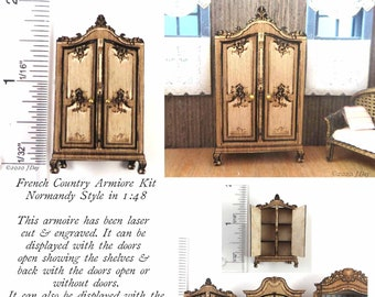 """KIT, French Country Armoire Kit Normandy Style, Engraved and Laser Cut, Quarter Scale  1:48 1/4"""" dollhouse LC055"""