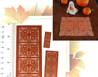 Kit Miniature dollhouse Pumpkin and Chestnut leaves Placemats. in 3 scales Deep Orange Paper, set of 4, for pumpkin lovers PL203