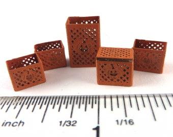 Intro Price KIT, Pumpkin Basket Quarter Scale Kit, includes 5 Baskets, laser cut heavier orange Paper LP057, 1/4 scale 1:48 DIY