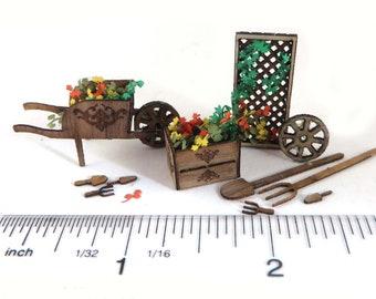 "KIT, Summer's Gardening Kit, Engraved, Laser Cut Walnut Veneer,  wheel barrow, crate, flowers, Quarter Scale  1:48 1/4"" dollhouse mini LC069"