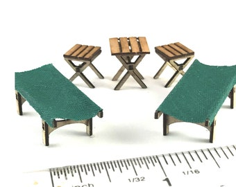 KIT Camp Table, Two Stools, Two Cots 1:48, quarter scale laser cut kit LC504