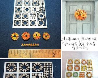 KIT  1:48 scale Laser Cut Paper Autumn Harvest Wreaths Decor LP028 Dollhouse Miniature in Quarter Scale