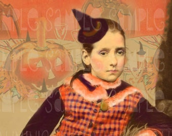 Halloween Witch - Tween Tamaras Witch's Party - Altered Art Antique Victorian photo Scan 1880's Instant Digital Download DH034