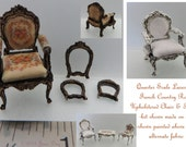KIT Quarter Scale, Laser Cut French Country Roses Upholstered Chair Frames Kit 1 48 1 4 quot dollhouse LC003