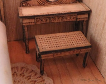 KIT French Country or Victorian Cane Look Stool. Laser Cut & Engraved Kit in Quarter Scale 1:48 LC034
