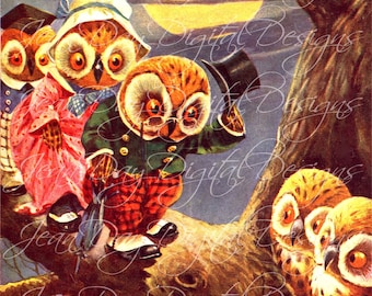 Owl Visitors, Image Scal,  Instant Digital Download DB039