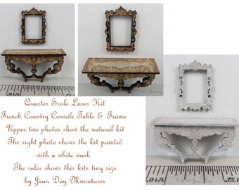 KIT French Country Console Table in 1/4 inch, 1:48, quarter scale kitLC015