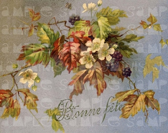 Autumn Branches, 1904 - Antique French Postcard  Scan image Instant Digital Download FrA073