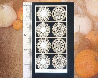 Miniature dollhouse Pumpkin Patch Doilies in Deep Orange or White, 3 scales Paper, 8 doilies in 4 designs, Halloween Autumn PL192