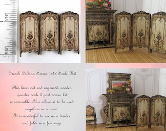 KIT French Folding Screen, Engraved 1/4 inch, 1:48, quarter scale laser cut kit Dollhouse Miniature LC094