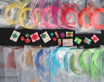 Vintage Self Sticking Ribbons in 15 colour choices to make bows for Dollhouse Miniatures 1:12 scale, VT039