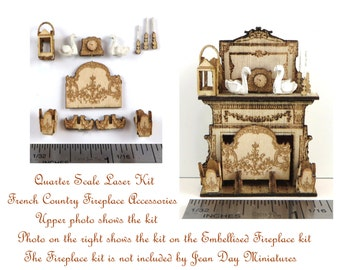KIT Quarter Scale, Laser Cut French Country Fireplace Accessories, Swans, Clock etc  KIT 1/4 inch, 1:48, fireplace not included LC011