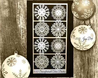 Miniature Dollhouse Christmas Snowflakes & Trees Paper Doilies in 3 scales, for cookies, cakes, Paper, 8 doilies, 4 designs PL173
