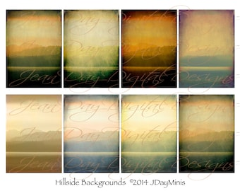 Hillside and Sea Backgrounds or Textures 2.5x3.5 inch ATC cards, Displays,  Collage Sheet, Instant Digital Download TF024