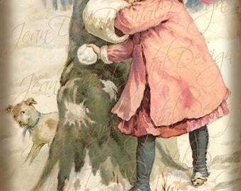 Victorian Christmas, Glady throwing Snow Balls 1895 Antique Card scan - Instant Digital Download FC058