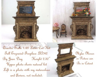 KIT Tall Fireplace Quarter Scale French Country Laser Cut and Engraved 1:48  1/4 inch, LC042