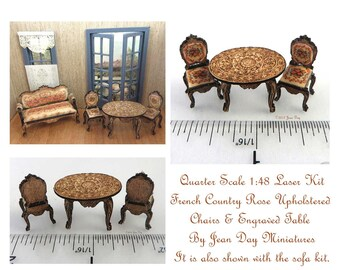 KIT French Country or Victorian Laser Cut & Engraved Upholstered Chairs and Table Kit 1:48, Quarter Scale Kits LC028