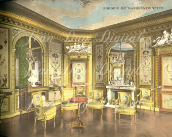 Boudoir de Marie-Antoinette from Fontainebleau, French Photo Scan Instant Digital Download FrA013