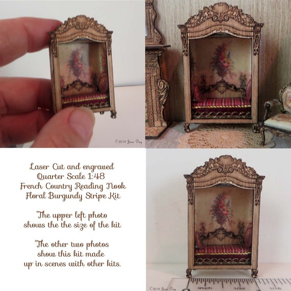 Dollhouse Miniature Reading Nook Kit 2 pieces - 1:48 Scale