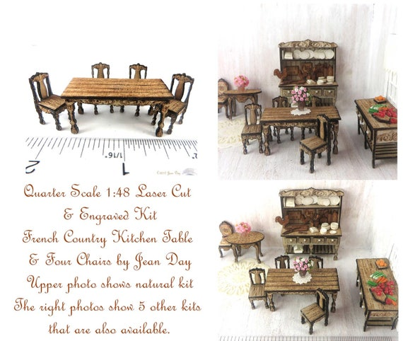 French Country Laser Cut and Engraved Kitchen Table and Four Chairs Kit  LC047 Quarter Scale, 1:48
