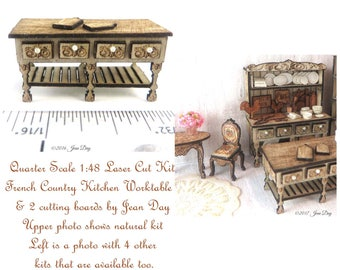 KIT Quarter Scale French Country Laser Cut and Engraved Kitchen or Shop Worktable and 2 cutting boards 1:48  1/4 inch, LC045 Dollhouse Mini