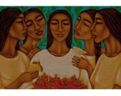 Items Op Etsy Die Op Gathering Of Women With Fruit Mexican Folk Art Print Of Original Painting