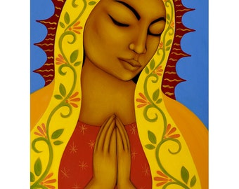 Virgin Mary Black Madonna Acrylic Folk Art Original Painting Home Decor by Tamara Adams