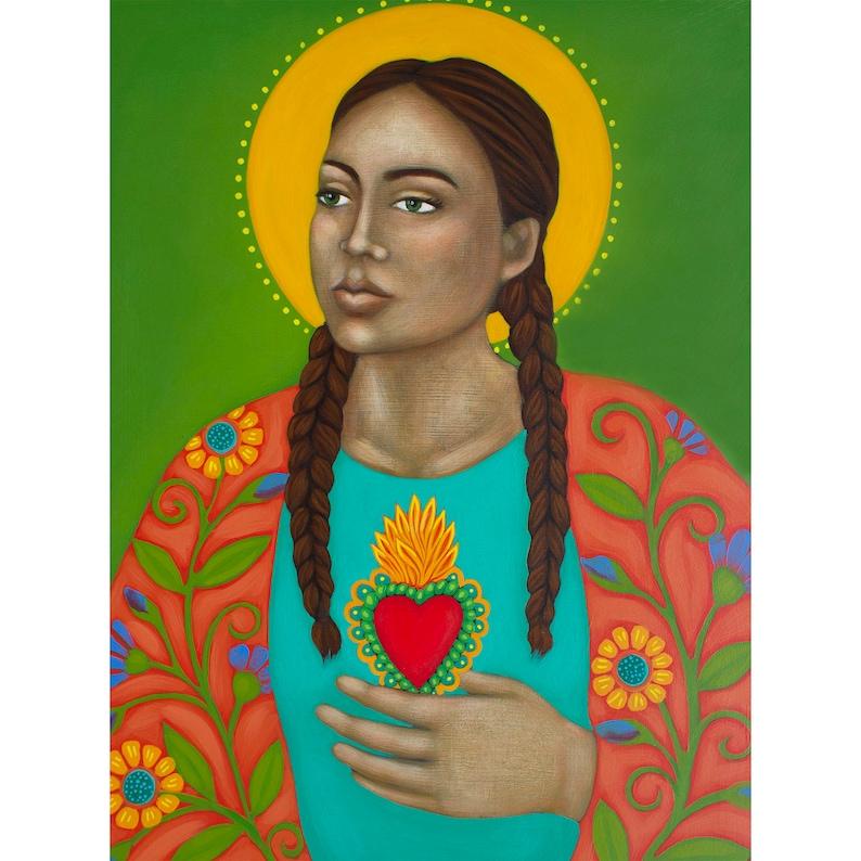 Paper Giclee Print of Original Painting By Tamara Adams Goddess Art Sacred Heart Portrait