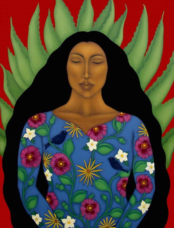 Portrait with Hummingbird Flower Goddess Mexican Wall Art Home Decor by Tamara Adams Paper Giclee Print of Original Painting