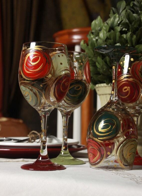 Items Similar To Funny Sweatshirt Cool Baseball Tshirt: Items Similar To Wine Glasses Hand Painted Christmas Swirl