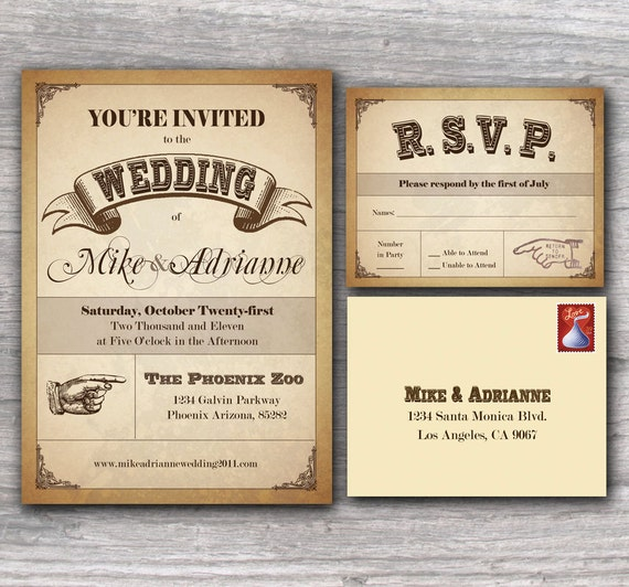 Western Wedding Invitations: Items Similar To Western Poster Wedding Invitation Sample