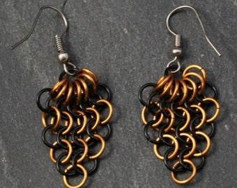 Ohrringe Trauben - schwarz-gold