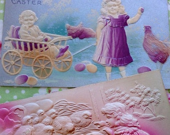 Vintage Easter Postcard Lot Double Embossed Bunnies Chicks Cart Children 1908 Deep Embossing