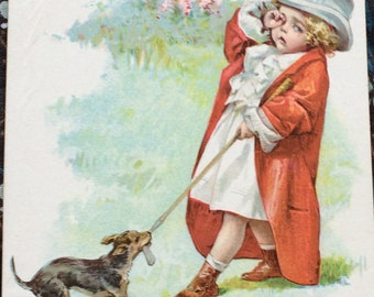 Maud Humphrey Victorian Girl & Dog Lithograph Trade Card Smith Wallace Shoe Co. 1890's