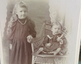Edwardian Photograph of Children Old Cabinet Card Sisters
