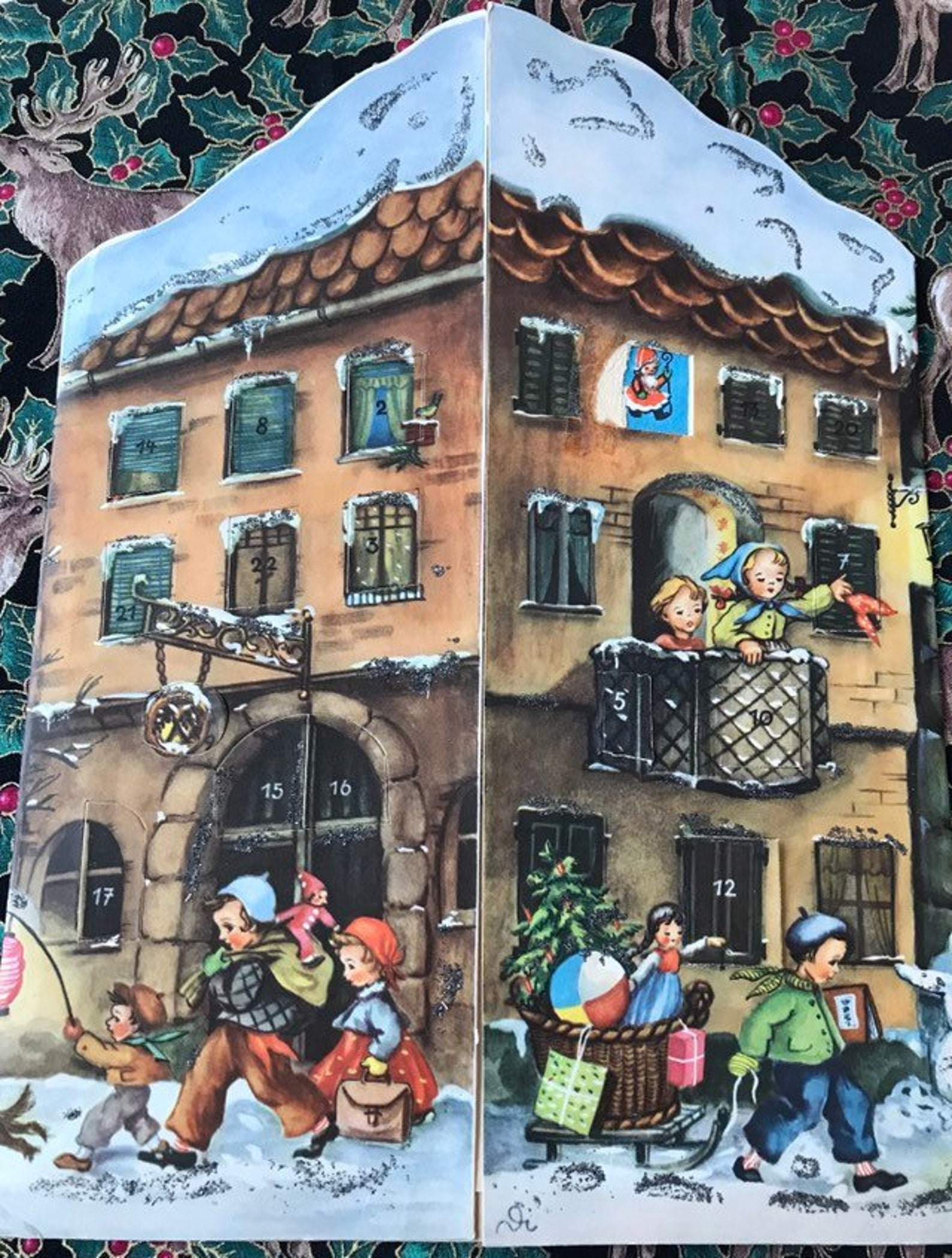 Advent Calendar Mid Century West Germany by Stuttgart-Rohr Glittered German Village & Children at Christmas
