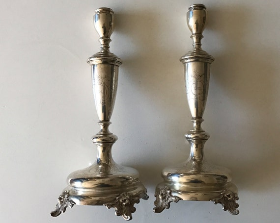 "1900 Pair 15"" German Continental Silver  Candlesticks by Julius Lemor of Breslau - 800 Silver Shabbat"