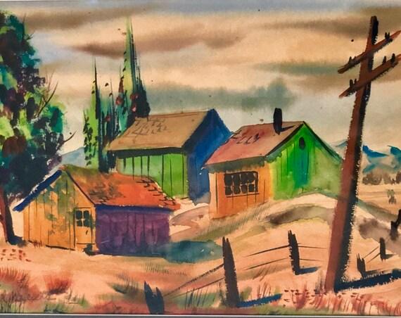 Millard Sheets 1907 – 1989) Original Watercolor Painting California Landscape