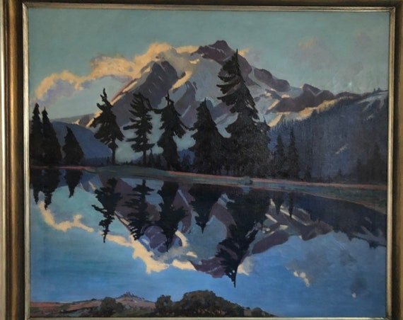 Tom Milton Wilder American Landscape Oil Painting on Canvas - Sunrise on Mt Shuksan