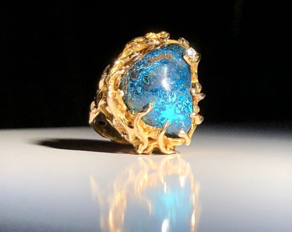 1960s 14 KT Gold Shattukite Azurite and Diamond Cluster Cocktail Ring 20.5 grams 585 Aquatic Marine