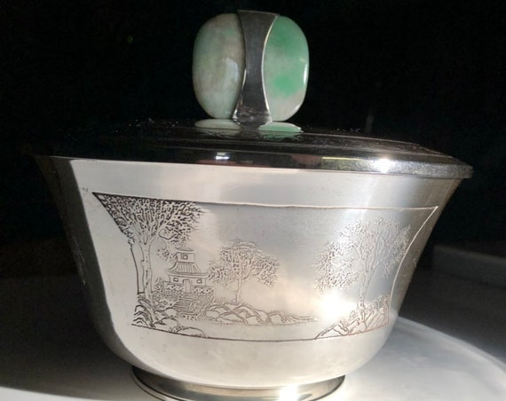 1900-1915 Sweetser & Co. New York City Sterling Silver and Jade Sugar Bowl