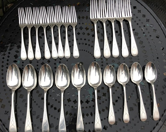 1865-6 Hebbard & Moore Coin Silver Flatware Set of 23 (1,000 grams+ / 2.3 pounds) Sterling Tiffany