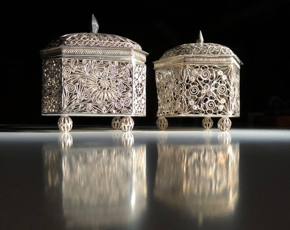 1920 Filligree Chinese Cricket Cages in Sterling Silver