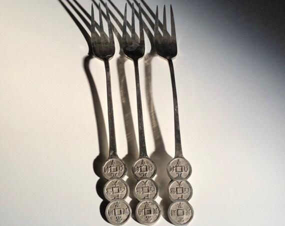 Korean 700 Silver Appetizer Set Forks